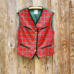 Vintage Pure Wool Plaid Red Green Sweater Vest Button Front Velvet Accents